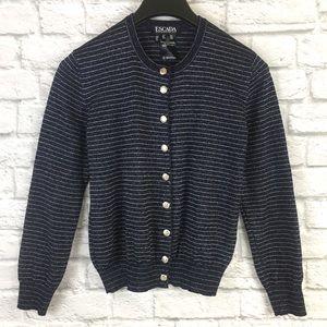 Escada Virgin Wool Blend Striped Knit Cardigan 38